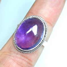 5.03 Gm 925 Sterling silver Natural Amethyst Rings 7 US Oval Design Pure Jewelry