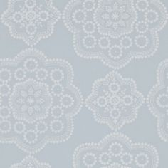 Odetta (111179) - Harlequin Wallpapers - A stunning lace-inspired emblem, understated yet dramatic in a hand printed effect. Shown here in the powder blue colour way. Other colour ways available. Paste the wall product. Please request a sample for true colour match.