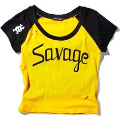 Current Mood Savage Cropped Raglan ($23) ❤ liked on Polyvore featuring tops, shirts, raglan sleeve top, destroyed shirt, raglan shirts, yellow crop top and ripped shirt