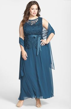 Alex Evenings Ribbon Tie Lace Bodice Gown with Shawl available at #Nordstrom...maybe