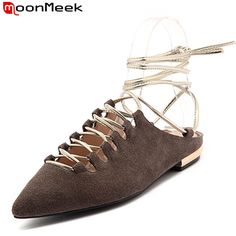 44.20$  Watch now - http://alikta.shopchina.info/go.php?t=32802209647 - MoonMeek 2017 new arrive summer shoes fashion women flats pointed toe ankle strap kid suede sexy popular ladies party shoes  44.20$ #buymethat