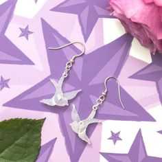 Frosted Swallow Tattoo Earrings