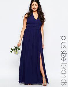 TFNC Plus WEDDING Halter Neck Chiffon Maxi Dress