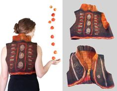 Ethnical woman fiber art clothing -  reversible felted bolero vest in pumpkin brown