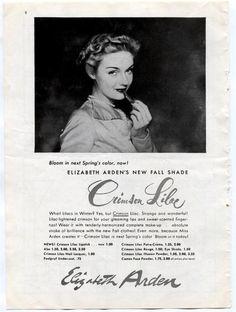 Orig 1948 Vintage Cosmetics Ad ELIZABETH ARDEN Crimson Lilac Lipstick Fall Shade | Collectibles, Advertising, Health & Beauty | eBay!