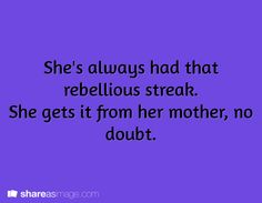 She's always had a rebellious streak. She gets it from her mother, no doubt. Her aunt tried to teach her better, but she was fighting a losing battle. Book Writing Tips, Creative Writing Prompts, Cool Writing, Writing Help, Writing Skills, Writing Ideas, Dialogue Prompts, Story Prompts, Story Inspiration