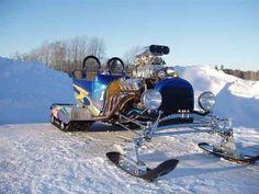 blown big block chevy T-bucket on tracks and ski's
