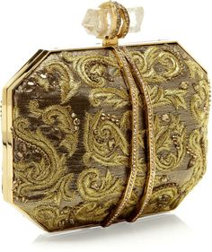 Marchesa Iris Clutch in Paisley Lame in Gold Paisley, No Rain, Beautiful Bags, Beautiful Things, Marchesa, Clutch Purse, Evening Bags, Fashion Bags, Purses And Bags