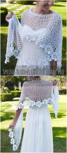 Spring Blooms Crochet Shawl Free Pattern