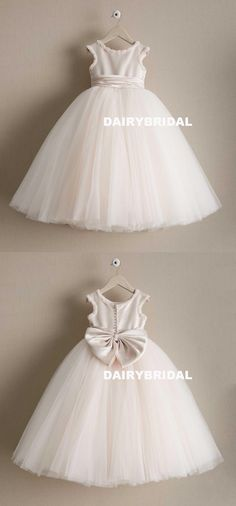 Tulle Cheap A-Line Flower Girl Dresses, Popular Little Girl Dresses with Bow-Knot, D998 #dairybridal