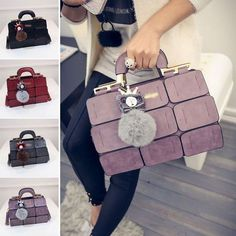 6c7fb1e5cb Fashion Women PU Handbag Purse♡Shoulder Bag Fur Ball Messenger Satchel Tote  Bags in Clothing