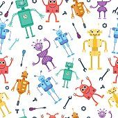 Seamless pattern by retro robots