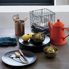 12-piece shiny copper flatware set in flatware | CB2