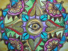 All Seeing Eye Original Singleton Hippie Art by justgivemepeace