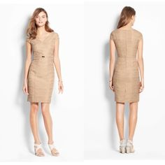Ann Taylor belted sheath dress Form fitting cap sleeve sheath dress from Ann Taylor! Pretty golden color, textured fabric. Perfect for work. New with tags! Ann Taylor Dresses
