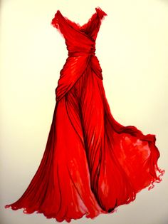 Love the ethereal feel of this red gown