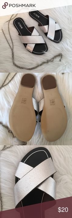 J. Crew Silver & Black  Slides Like New Size 6 Such a cute pair of flats that will never go out of style. They look almost new because they were worn 1 time by my grown granddaughter. Non smoking home J. Crew Shoes Sandals