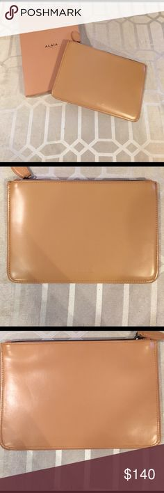 Brand New Alaia Paris Clutch in Nude Alaia clutch, brand new with box. One small mark (honestly I wouldn't even consider it an imperfection, it came with it and you really wouldn't notice it) which can be seen in last pic. Never used. Comes with dust bag. Alaia Bags Clutches & Wristlets