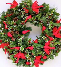 Gorgeous Pre-Lit Christmas Wreath Red Birds and Holly by WreathsByBobette on Etsy https://www.etsy.com/listing/208875870/gorgeous-pre-lit-christmas-wreath-red