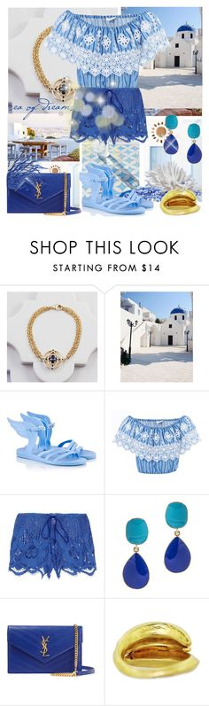 """BLUE by you!"" by eiliana ❤ liked on Polyvore featuring GAS Jeans, Ancient Greek Sandals, Miguelina, Kenneth Jay Lane, Yves Saint Laurent and country"