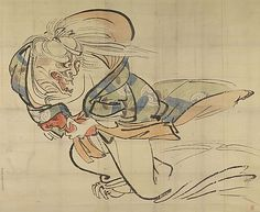 Preparatory Sketch for The Ibaraki Demon  Shibata Zeshin  (Japanese, 1807–1891)  Period: Edo period (1615–1868) Culture: Japan Medium: Hanging scroll, ink and color on paper