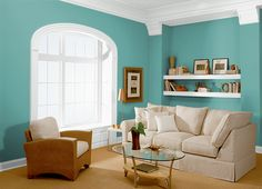 This is the project I created on Behr.com. I used these colors: UNDINE(M450-4),AQUA RAPIDS(M450-5), for craft room