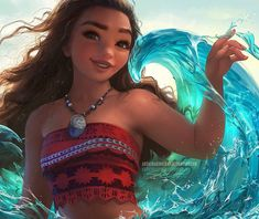 "Sakisakimi (@sakimi.chan) on Instagram: ""#Moana one of the most fun to watch #Disney films in a while<3 I just love her hair physics!! Fun…"""