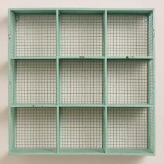 One of my favorite discoveries at WorldMarket.com: Aqua Braedyn Wire 9-Bin Wall Storage $100, 24wx8dx24h