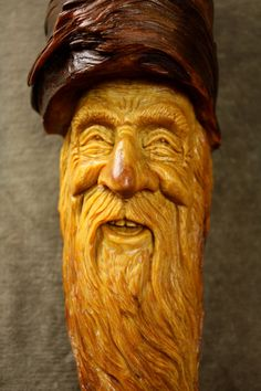 A Wood Spirit Wood Carving of an Elf Wizard by TreeWizWoodCarvings, $265.00
