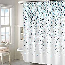 image of Rainy Days Shower Curtain in Aqua