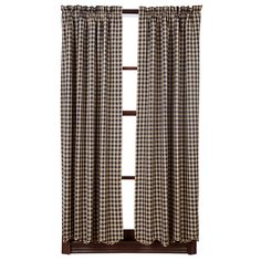 "Black Check Scalloped Short Curtain Panels 63"" x 36"""