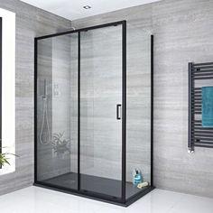 Milano Nero - Black Sliding Shower Door - Choice of Sizes and Side Panel Frameless Sliding Shower Doors, Glass Shower Doors, Sliding Doors, Coastal Shower Doors, Shower Cabin, Glass Shower Enclosures, Black Shower, Shower Kits, Shower Screen