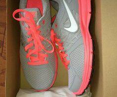 Gray & coral Nikes