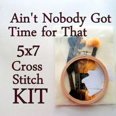 Cross Stitch Kit -- Ain't Nobody Got Time For That With Grandfather Clock, Diy…