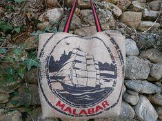Sac cabas en toile de jute de sac a café // sac recyclé // sac bohème // cadeau femme