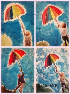 Syksy sateenvarjo. Syyssade  Pääväri väliväri, omakuva, tausta töpöttämällä 2.lk /AHP Arts And Crafts, Outdoor Decor, Art Ideas, Painting, Education, School, Painting Art, Paintings, Art And Craft