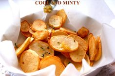 Deep fried potato slices with garlic olive oil