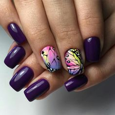 Purple Christmas Nail Art Designs Ideas For Winter - Page 28 of 96 - Soflyme Butterfly Nail Designs, Cute Nail Art Designs, Christmas Nail Art Designs, Beautiful Nail Designs, Holiday Nails, Christmas Nails, Purple Christmas, Purple Nail Art, Finger