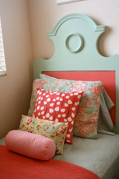 Aqua, Poppy Red & Pink: the gray Threshold sheets are from Target and nice up close. Shams/Bedding/Quilt found at Marshals and all the pillow fabric was found at the local Joanne's fabric!