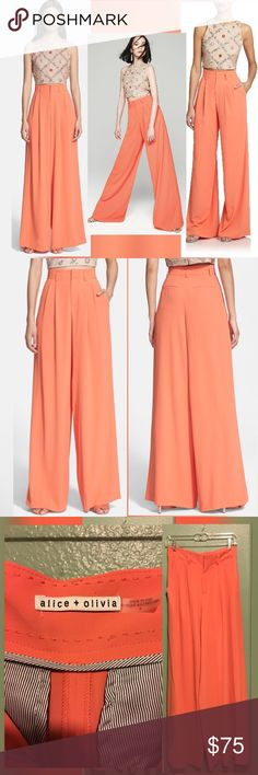 """Alice+Olivia high rise wide leg trousers coral Excellent condition!!! Worn once. These are so high fashion and an absolute must have for lovers of the wide leg look. These are totally sold out and highly sought after. Amazing material so warm and comfy. Inseam is 31"""" waist 14"""" (super high waisted) Alice + Olivia Pants Trousers"""