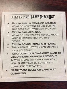 Dungeons and Dragons Pre-Game Checklist Dungeons And Dragons Game, Dungeons And Dragons Homebrew, Tabletop Rpg, Tabletop Games, Dm Screen, Dungeon Master's Guide, Dnd 5e Homebrew, Dragon Games, Dragon Rpg