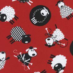 Coton imprimé - Mouton qui tricote / Rouge - T. Treasures (50cm)