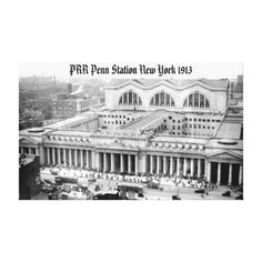 "PRR New York Penn Station 1913 Wrapped Canvas Canvas Print, 48""X30"" - $365.00 - #stanrail  A special ink-receptive coating that protects the printed surface from cracking when stretched. Made with a tight weave ideal for any photography or fine art, our instant-dry gloss canvas produces prints that are fade-resistant for 75 years or more. The station put the Pennsylvania Railroad at comparative advantage to its competitors offering service to the west and south.  #stanrails_store"