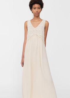 Sukienka z koronkową wstawką - Sukienki dla Kobieta | MANGO Polska