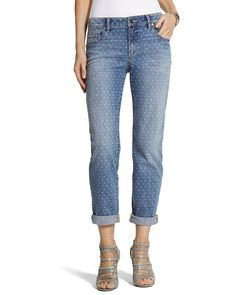 Chico's Platinum Denim Dot Boyfriend Jeans #chicos sale $69 got another pair