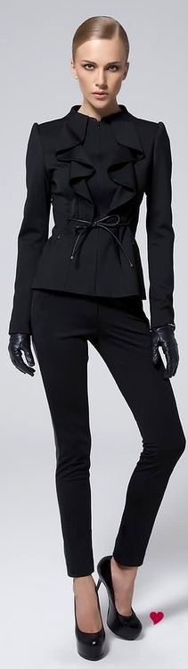 Modern Suit. Black jacket with ruffle detail+ skinny pant.