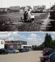 Brunssum : Op de bovenste foto ziet men de achterkant van de hoek Bodemplein Rumpenerstraat. Van rechts naar links: Een stukje van de nu nog bestaande woning, open ruimte, Pand Nauts, pand slager Bronneberg, pand groentehandel Raithel, café Roberts enz. Dit alles maakt nu deel uit van de Lidl en de parkeerplaats hiervan. De bovenste foto is van de eind dertiger- of begin 40er jaren. De onderste foto is zo goed als mogelijk vanaf dezelfde plaats genomen.