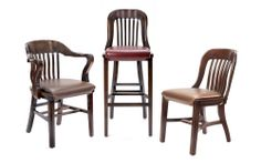 Courthouse Armchair (HER13AM), Barstool (HER13BM) and Chair (HER13CM). Solid beech wood restaurant chairs with upholstered seat and decorated nails. 12 standard stains available.