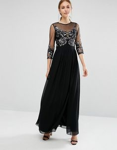 Little Mistress   Little Mistress Maxi Dress with Embellished Bust and 3/4 Sleeve