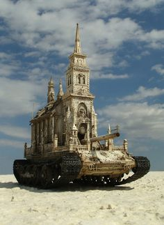 This series of sculptures, aptly known as Churchtanks, by artist Kris Kuksi presents a controversial re-imagining of cathedrals as heavily armored tanks. Like much of his body of work, Kuksi's pieces in this collection critique organized religion and comment on morality by combining the faith-based architecture with military force.